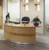 Réception incurvée bleue de bureau en verre de chevalet de vente chaude, bureau de réception (SZ-RT044)
