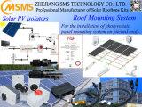 O sistema de fixação do painel solar no último piso