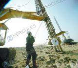 Instalación de drenaje vertical de una máquina excavadora sobre