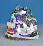 Décoration de Noël de la résine 11'led scène avec station de ski de montagne, arbre de Noël autour de l'enfant, Adaptateur 4.5V3.6W inclus