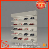 Zapata venta de zapatos de madera muestra los diseños de estanterías de pared