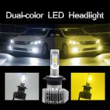 Двойной желтый цвет белый светодиодный комплект фар 12V 24V автомобильный светодиодные фары H4