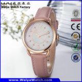 Montre-bracelet de quartz de courroie en cuir d'ODM pour les dames (WY-095A)