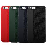 Anti cas de couverture de PC de la fibre TPU de carbone de brouillon pour la couverture positive de fibre de carbone de cas de l'iPhone 7 pour l'iPhone 8 positif