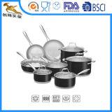 Het professionele Onyx Zwarte Geplaatste Cookware van het Roestvrij staal: Koekepan & Steelpan