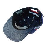 Изготовленный на заказ способ голубое PU/Cotton вышивки 3D резвится шлем человека крышки Snapback