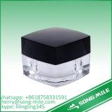 無光沢の銀製の帽子が付いている30mlによって曇らされるアクリルの装飾的な瓶