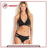 Niedriger Taillen-Schwarz-einfacher Normallack-Sommer-Sport-Strand-aufgeteilter Bikini-Badeanzug