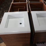 Reines weißes Vierecks-hing feste Oberflächenbadezimmer-Wand Eitelkeits-Bassin