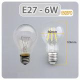 A60 6W 4000k Dimmable 포도 수확 LED 필라멘트 Edison 고전적인 전구