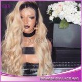Женщина элегантная мода долго фигурные кружева передней Wig кривой синтетических Wig черного цвета волос человека в полной мере Wig для черного цвета