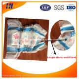 Pannolino respirabile del bambino dell'OEM con la fascia elastica lunga della vita