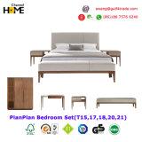 Base moderna francese del tessuto del cuoio di legno solido 2017 per la camera da letto (HC-B09)