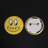 Aduana impresa alrededor de divisa del botón de Pinback con el Pin seguro para la promoción