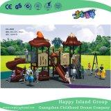 Напольная малая спортивная площадка скольжения детей крыши Brown Vegetable с оборудованием качания (HG-9502)