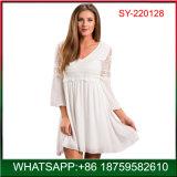 Qualitäts-Dame-eleganter weißer Spitze-Kleid-Großverkauf