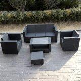 أسود [رتّن] ساحة ثبت أريكة مع مسند للقدمين