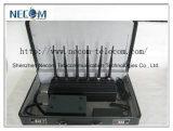 Portable GSM/CDMA/WCDMA/TD-SCDMA/Dcs/Phs Concealment Phon Signal Jammer Blocker, Portable 6 Antenna 2g/3G/4G Cellphone +GPS+Lojack Jammer, with Because To charge and Battery