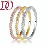 Anillo de compromiso del anillo de la bodas de plata del anillo de oro de amarillo del anillo de oro de Rose