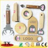 Clases baratas y promocionales de abrelatas de botella del metal y de madera para los recuerdos con insignia modificada para requisitos particulares