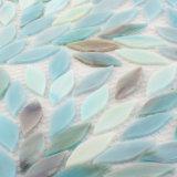 Forma de la hoja azul coloridas vidrieras arte mosaico de la pared