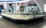 Beste Preis-Vorderseite-geöffneter gebogener Glasnahrungsmittelwärmer-Bildschirmanzeige-Schaukasten-Werbungs-Kühlraum