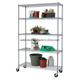 "NSF Adjustable 5 Tiers Heavy Duty Commercial Wire Shelving em Caster 48 ""X 18"""