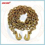 Желтый Оцинкованные нагрузки для сшивания кольцами цепь с крюком захвата