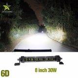 Barre simple d'éclairage LED de pouce 30W de la rangée 12V 8 pour des camions de jeep