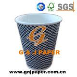 Taza de papel de la ondulación de la talla estándar de la pulpa de la Virgen para la consumición caliente