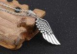 Piuma d'argento antica Necklaces&Pendants del metallo di Collares del minatore della collana dell'ala di angelo dell'annata singola