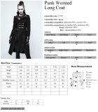 Capas negras largas del invierno de la corrección Y-791 de las mujeres de lana punkyes góticas del trabajo