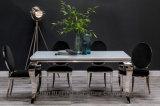 Самомоднейшая белая стеклянная обедая таблица с и серебр 8 стулов бархата