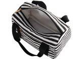 Bolso impreso raya blanco y negro suave del almuerzo del totalizador del bolso de la lona de Eco