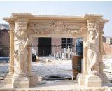 Cheminées en pierre normales de modèle populaire avec du marbre blanc/beige