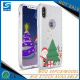 2017 de Reeksen van Kerstmis schitteren Poeder 3 in 1 Transparante Dekking van de Telefoon TPU voor iPhone 7/8