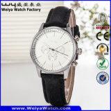 고전적인 가죽끈 석영 형식 숙녀 손목 시계 (Wy-082E)
