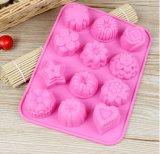 Moulage de Bakeware pour le moulage antiadhésif de traitement au four de forme de fleurs de cavité des silicones 12 de gâteau