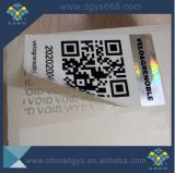 Etiket van de Sticker van het Hologram van de Stamper van de Code van Qr van het Ontwerp van de douane het Duidelijke