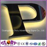 Aço inoxidável acrílico sinal 3D com iluminação de carta