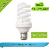 Lámpara llena del ahorro de la energía del T3 9W 11we27 B22 CFL del espiral