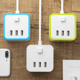 3 ports USB Smart Cube vertical vertical électrique prise 3 plots avec 3 contacts