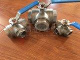 A braçadeira do aço inoxidável instala rapidamente três válvula de esfera de 3 maneiras