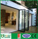 Il portello Bi-Fold di profilo di alluminio del materiale da costruzione con il doppio ha lustrato
