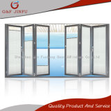 Puerta de plegamiento doble de aluminio del vidrio Tempered con los obturadores integrales