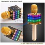 Microphone Karaoke portable sans fil avec les lampes LED H8