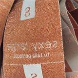 Rosa de poliéster personalizadas brillante de alta densidad de las prendas de vestir etiquetas tejidas