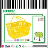 Cesta de compra plástica do punho do dobro do supermercado