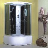 Badezimmer, das kompletten Glasdusche-Raum-Schrank schiebt