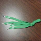 Зеленые шнурки при белый напечатанный логос